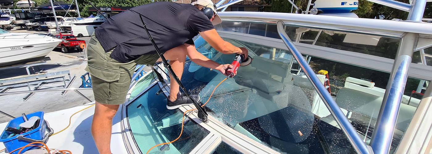Boat windscreen polished