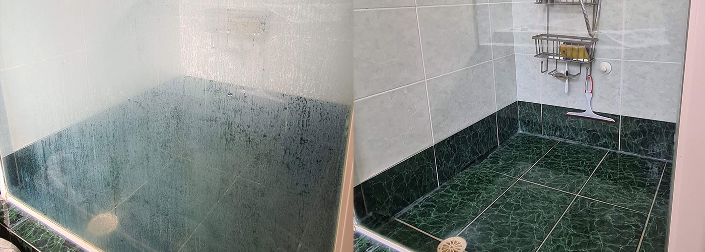 before and after shower restoration
